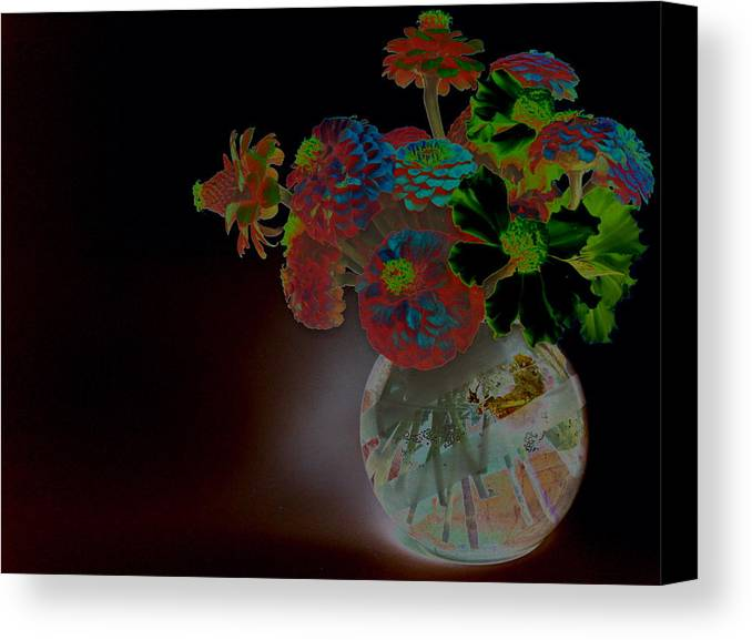 Flower Arrangement Canvas Print featuring the photograph Rainbow Flowers In Glass Globe by Padre Art