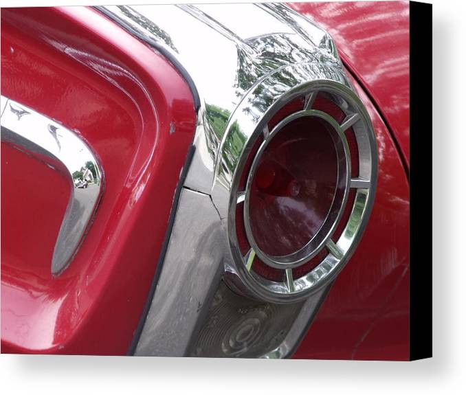 Antique 1960s Auto Detail Canvas Print featuring the photograph Red Retro Chrome by Cherokee Blue