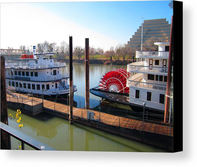 Old Town Sacramento Canvas Print featuring the photograph Riverboats by Barry Jones
