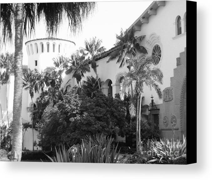 Building Canvas Print featuring the photograph Santa Barbara Courthouse by Ann Johndro-Collins