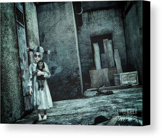 3d Canvas Print featuring the digital art Scary Place by Jutta Maria Pusl