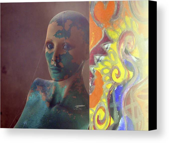 Graffitti Canvas Print featuring the photograph She Waits by Pamela Patch
