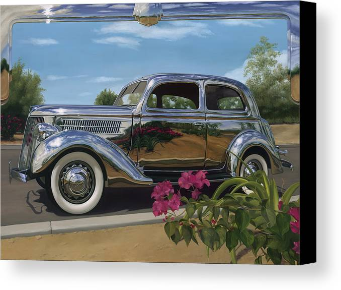 1936 Ford Canvas Print featuring the painting Silver Dream by Lucretia Torva