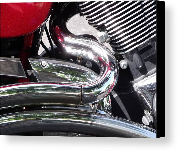 Motorcycle Detail Chrome Photo Canvas Print featuring the photograph Sparkling Curved Chrome by Cherokee Blue