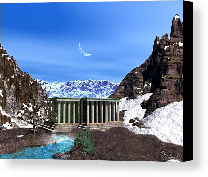 Landscape Canvas Print featuring the digital art Temple Gate by Christopher Lynch