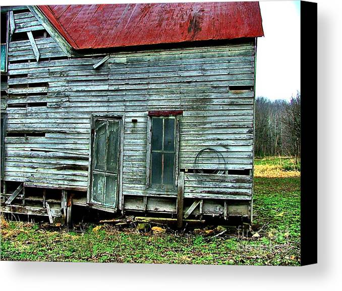 Old Abandoned Houses Canvas Print featuring the photograph That Old House Down By The Creek by Julie Dant