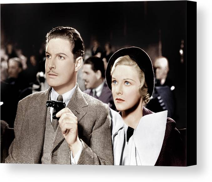 1930s Movies Canvas Print featuring the photograph The 39 Steps, From Left Robert Donat by Everett