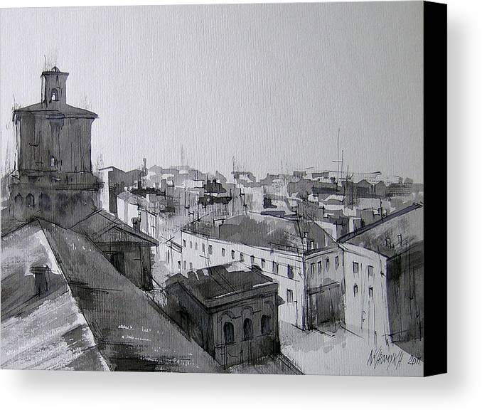 Italy Canvas Print featuring the drawing The City From Height -1 by Khromykh Natalia