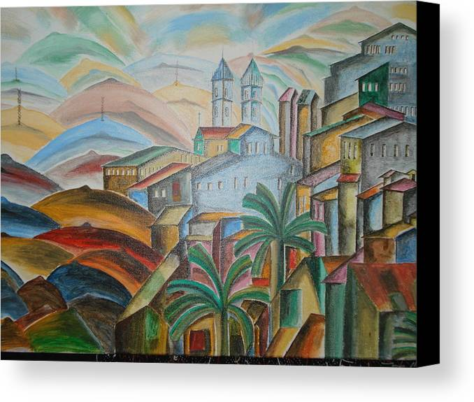 The Trees Canvas Print featuring the mixed media The Dream City by Prasenjit Dhar