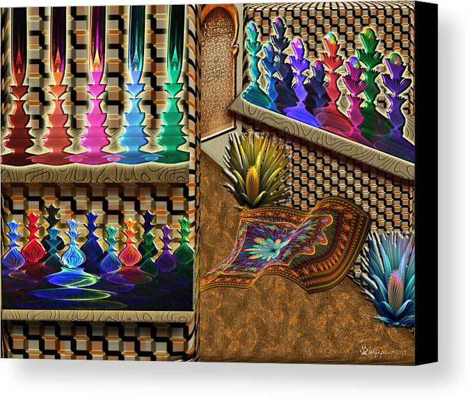 Abstract Canvas Print featuring the digital art The Lamp And Bottle Bazaar by Peggi Wolfe