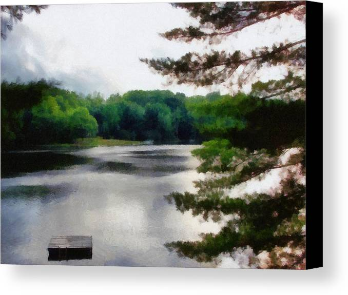 Sky Canvas Print featuring the photograph The Swimming Dock by Michelle Calkins