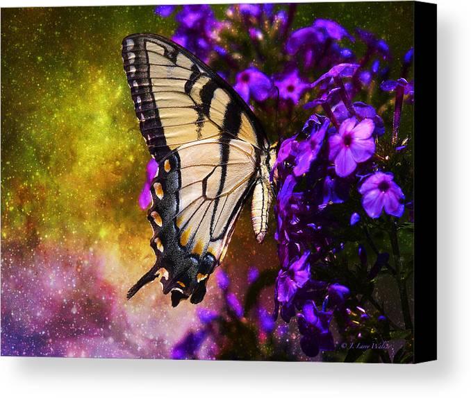J Larry Walker Canvas Print featuring the digital art Tiger Swallowtail Feeding In Outer Space by J Larry Walker
