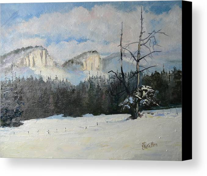 Twin Buttes Canvas Print featuring the painting Twin Buttes Wyoming by Judy Fischer Walton