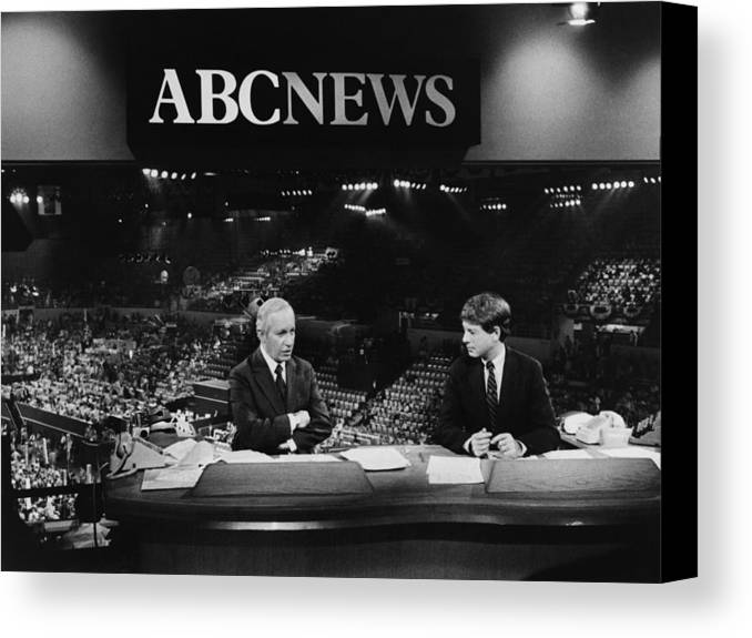 1980s Canvas Print featuring the photograph Us Elections. From Left Frank Reynolds by Everett