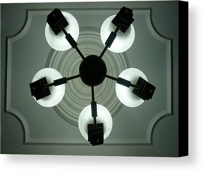 Bulb Canvas Print featuring the photograph View Of 5 Bulb Chandelier Against A Decorated Ceiling From Underneath by Ashish Agarwal