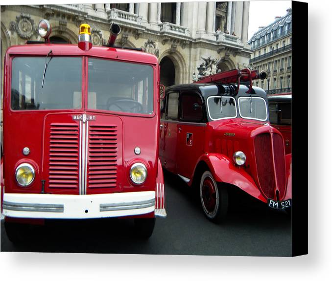 Red And Black Canvas Print featuring the photograph Vintage Fire Truck Duo by Tony Grider