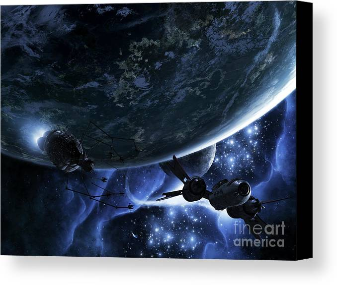 Artwork Canvas Print featuring the digital art Vulture Ships Hunt Down And Dismantle by Brian Christensen