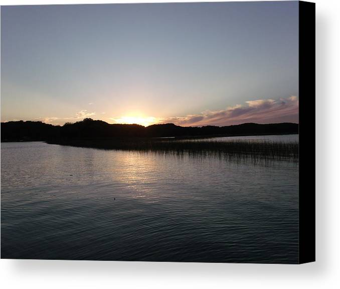 Candle Yellow Canvas Print featuring the photograph Warm Sunshine Lake by Brian Maloney
