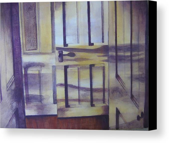 indoor Still Life Canvas Print featuring the painting When One Door Closes by Patsy Sharpe