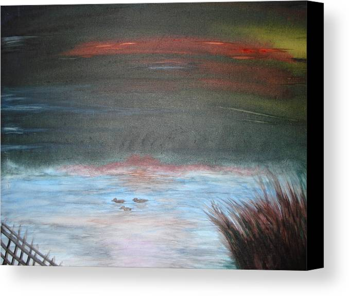 Landscape Canvas Print featuring the painting Where The Life Meets The Horizon by Prasenjit Dhar