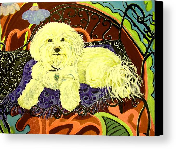 Art Canvas Print featuring the painting White Dog In Garden by Patricia Lazar