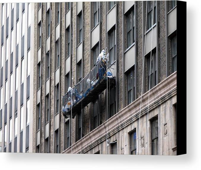 New York Canvas Print featuring the photograph Window Washers by Pamela Muzyka