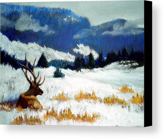 Mountain Snow Landscape Painting Canvas Print featuring the pastel High Country Elk by Curt Peifley