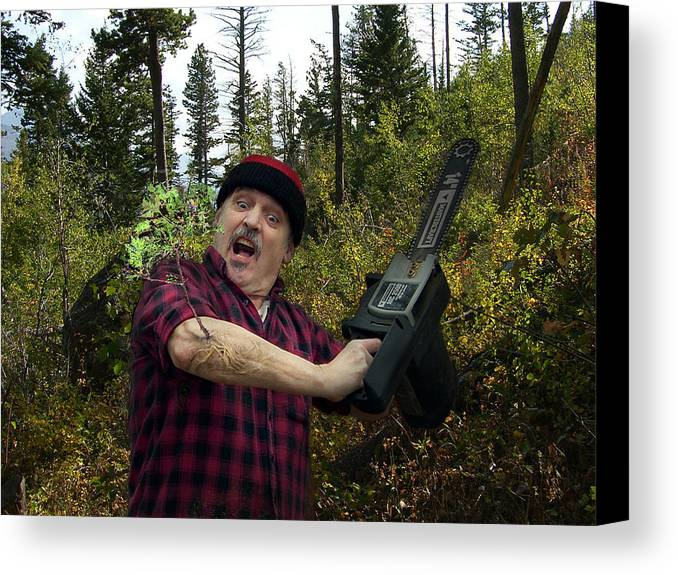 Surrealism Fantastic+realism Cloning Parasites Lumberjack Chainsaw Selfportrait Canvas Print featuring the digital art I Am A Lumberjack I Am Ok by Otto Rapp