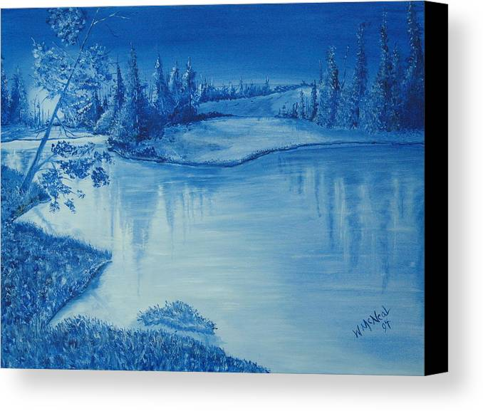 Landscape Canvas Print featuring the painting Idaho Lakeside Night by Willie McNeal