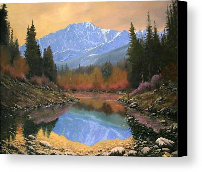 Landscape Canvas Print featuring the painting 080220-4030 In All Its Glory - Pikes Peak by Kenneth Shanika