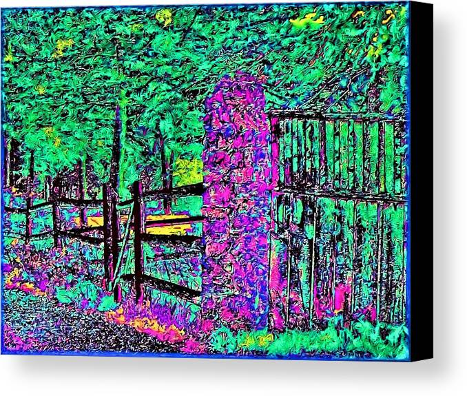 Landscape Canvas Print featuring the photograph 08f Fences Of Maine by Ed Immar