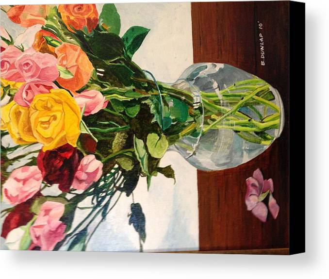 Flowers Floral Yellow Red Green Still Life. Canvas Print featuring the painting Anniversary Flowers by Bart Dunlap