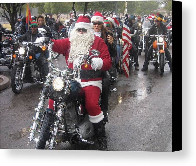 Christmas Toys For Tots Santa On Motorcycle Casa Grande Arizona 2004 Canvas Print featuring the photograph Christmas Toys For Tots Santa On Motorcycle Casa Grande Arizona 2004 by David Lee Guss