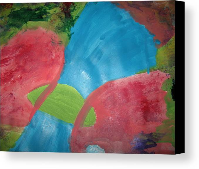Sperm Canvas Print featuring the painting Crossing The Barrier by Paula Andrea Pyle