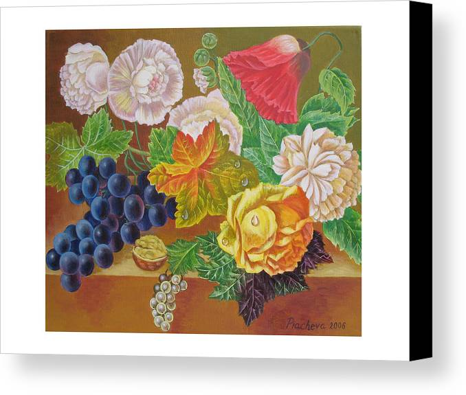 Still Life Canvas Print featuring the painting Fruits And Flowers II. 2006 by Natalia Piacheva