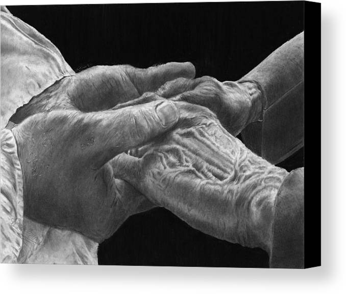 Canvas Prints Canvas Print featuring the drawing Hands Of Love by Jyvonne Inman