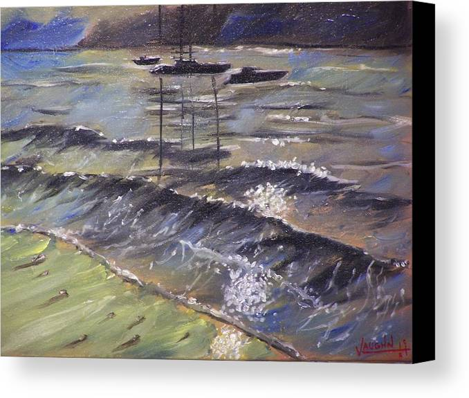 Landscape Canvas Print featuring the painting Harbor View by Charles Vaughn