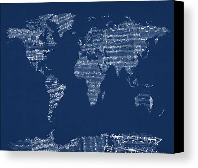 World Map Canvas Print featuring the digital art Map Of The World Map From Old Sheet Music by Michael Tompsett