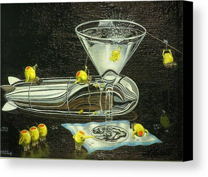 Canvas Print featuring the painting Martini Military by Charles Vaughn