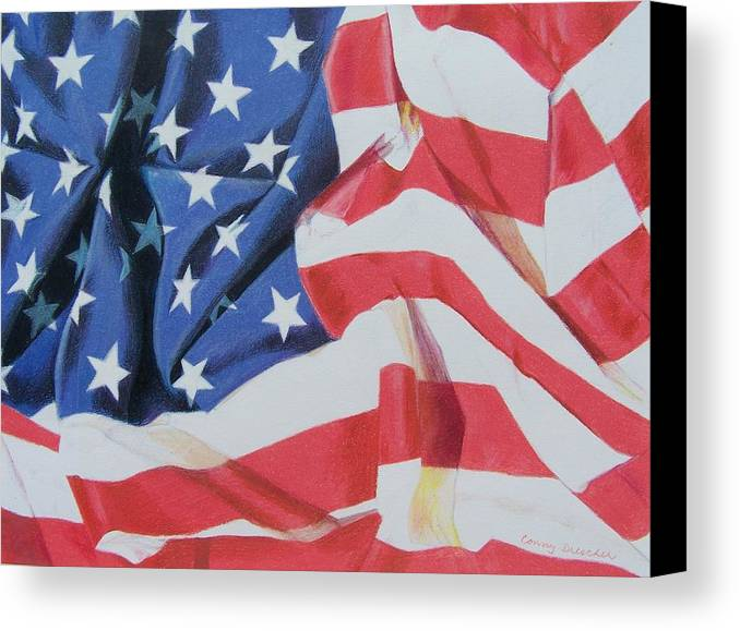 Flag Canvas Print featuring the mixed media Old Glory by Constance Drescher