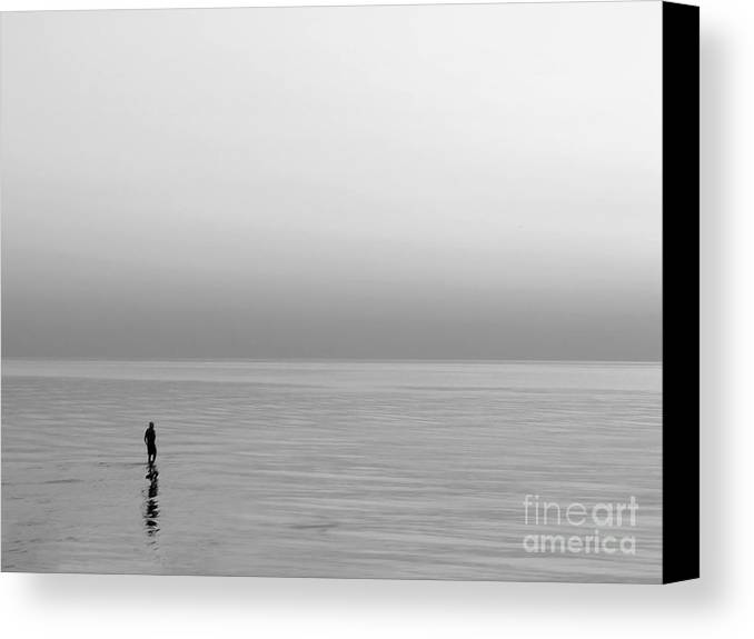 Lake Canvas Print featuring the photograph One Man by Dana DiPasquale