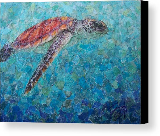 Sea Turtle Canvas Print featuring the mixed media Sea Turtle by Becky Ihlow