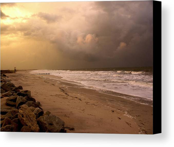 Sea Gull Canvas Print featuring the photograph Storm On The Beach by Paul Boroznoff