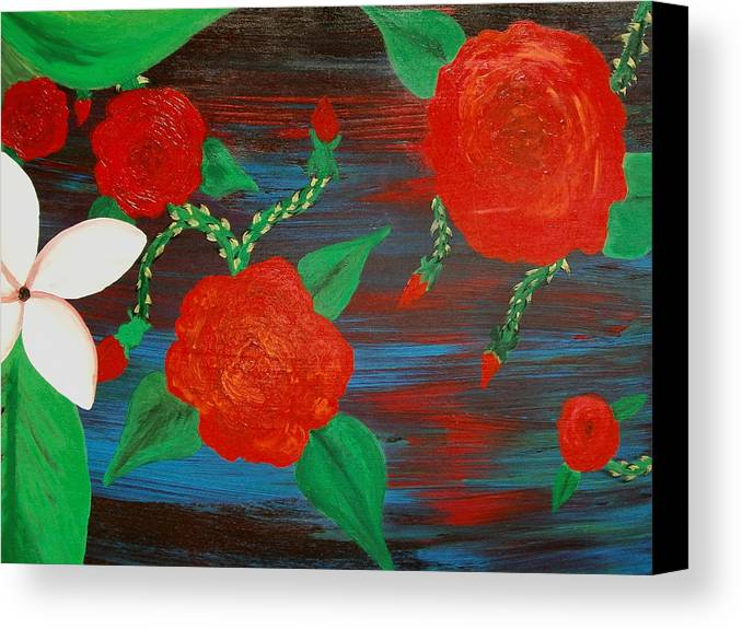 Roses Canvas Print featuring the painting Temper Temper by Laurette Escobar