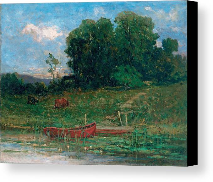Edward Mitchell Bannister Canvas Print featuring the painting The Farm Landing by Edward Mitchell Bannister