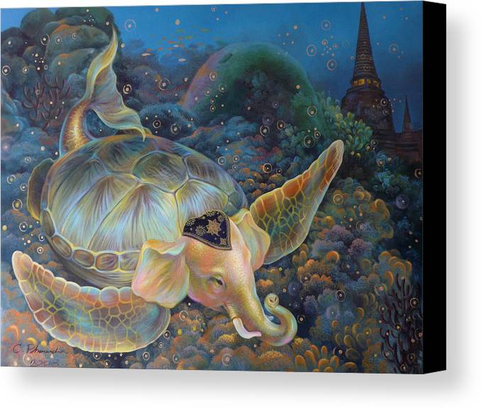 Surrealism Canvas Print featuring the painting The Light Of Buddhism by Chonkhet Phanwichien