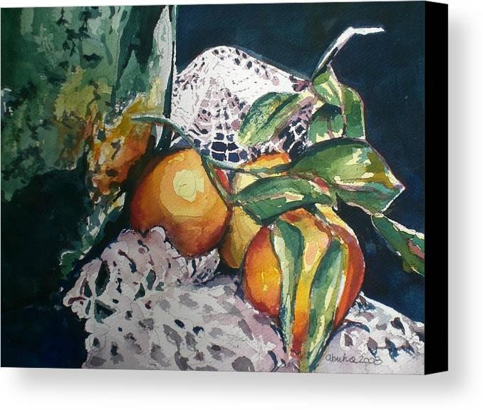 Oranges Canvas Print featuring the painting Three Oranges by Aleksandra Buha