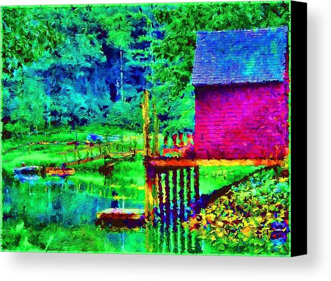 Boathouse Canvas Print featuring the painting 11052008a Boat House On The Inlet by Ed Immar