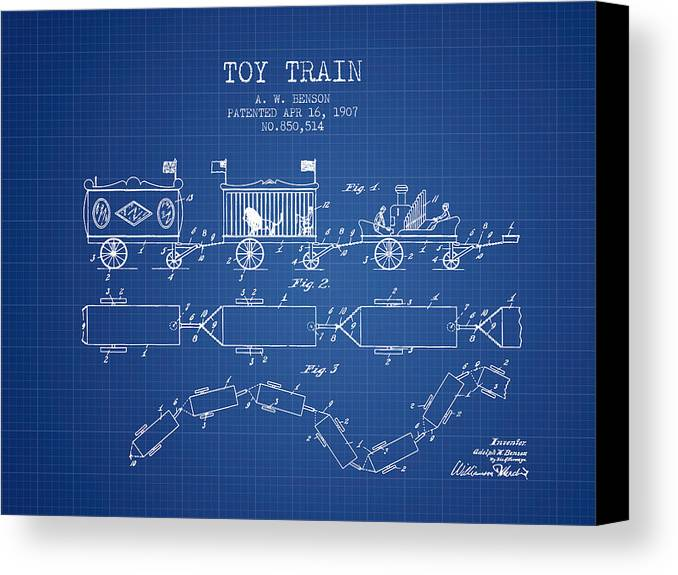 1907 toy train patent blueprint canvas print canvas art by aged train canvas print featuring the digital art 1907 toy train patent blueprint by aged pixel malvernweather Choice Image