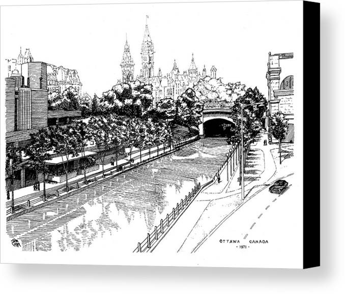 Cityscape Canvas Print featuring the drawing 1971 Rideau Canal Ottawa by John Cullen